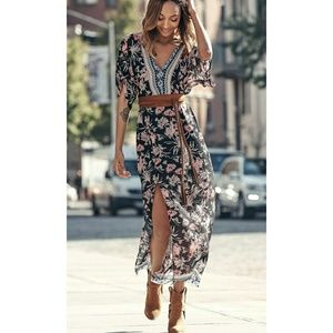 Express black floral kimono maxi dress XS
